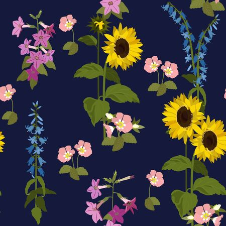 Seamless vector illustration with sunflowers and campanula on a dark background. For decorating textiles, packaging, wallpaper. Çizim