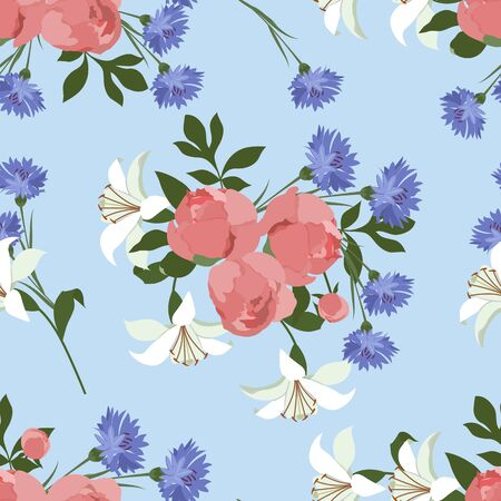 Peonies, cornflower and lilies. Seamless spring vector illustration on blue background. For decorating textiles, packaging, wallpaper.