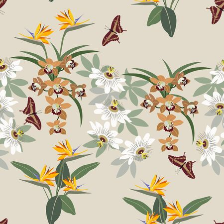 Seamless vector illustration with flowers of orchids, strelitzia and butterfly on a light background. For decorating textiles, packaging, web design.