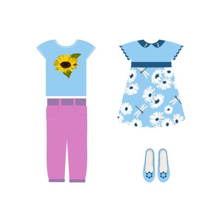 Vector illustration of a set of summer clothes for girls on white isolated background. Template for the decor of a store, a poster, an album.  イラスト・ベクター素材