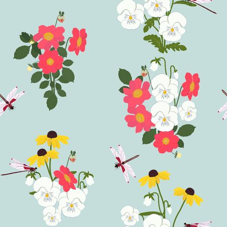 Seamless vector illustration with dahlias, pansies and dragonflies on a turquoise background. For decoration of textiles, packaging and web design.