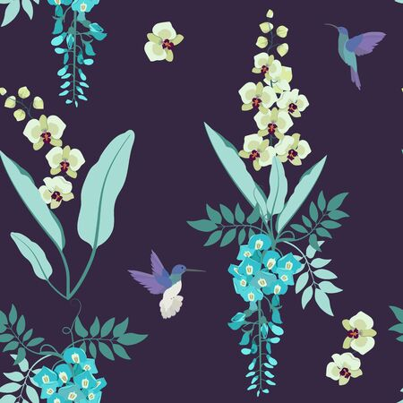 Seamless vector illustration with orchids, wisteria and hummingbirds on dark background. For decorating textiles, packaging, web design. Illustration