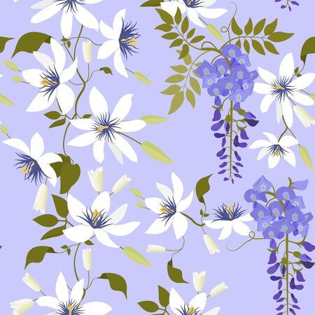 Seamless vector illustration with tropical flowers Passiflora and wisteria on a blue background. For decorating textiles, packaging, wallpaper.