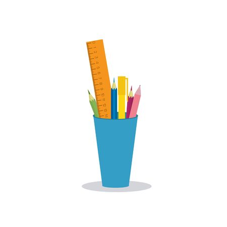Colored pencils, pens and ruler in a glass for office and home. Vector illustration isolated on white background.