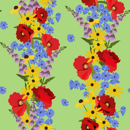 Seamless vector illustration with beautiful poppy, digitalis, rudbeckia on a green background. For decorating textiles, packaging, wallpaper. Ilustracja