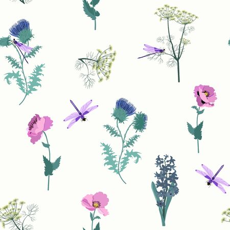 Seamless pattern with field thistle, hyacinth, poppies and dragonflies on a light background. For decorating textiles, packaging. Vector illustration.