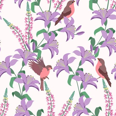 Lilies, lupins and birds on a white background. Seamless colorful vector illustration. For dyeing textiles, packaging, wallpaper.