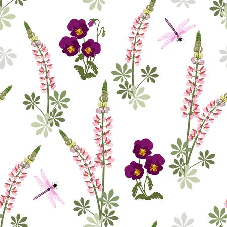 Flowers of lupine, pansies and dragonflies on a white background. Seamless vector illustration. For decorating textiles, packaging, wallpaper.