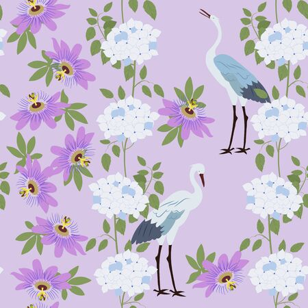 Seamless vector illustration with tropical flowers Passiflora, hydrangea and birds. For decorating textiles, packaging, wallpaper.