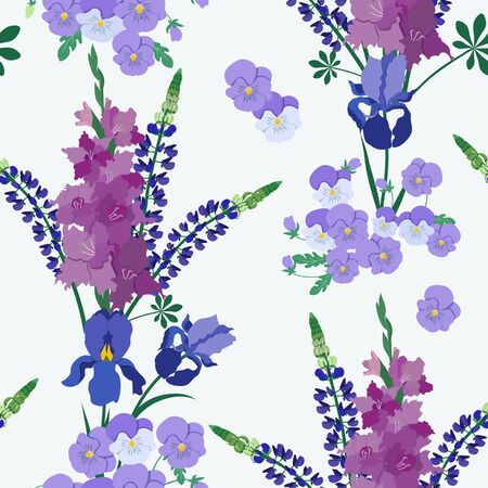 Seamless illustration with gladiolus, lupine, iris and pansies on a white background. For decoration of textiles, packaging, web design.