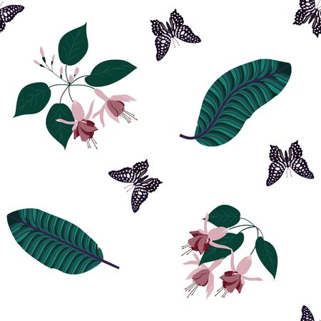 Beautiful tropical leaves, flowers fuchsia and butterflies on white background. Seamless vector illustration.For decorating textiles, packaging.