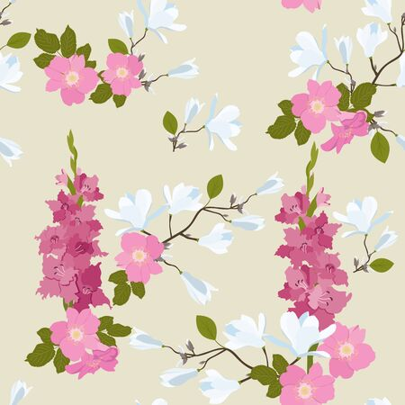 Seamless vector illustration with flowers of wild rose, magnolia and gladiolus on a beige background. For decoration of textiles, packaging, web design.