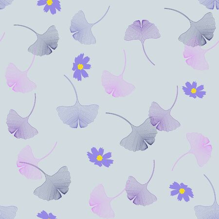 Ginkgo biloba, silhouette of colorful leaves and flowers on a gray background. For textile decoration, packaging, web design.