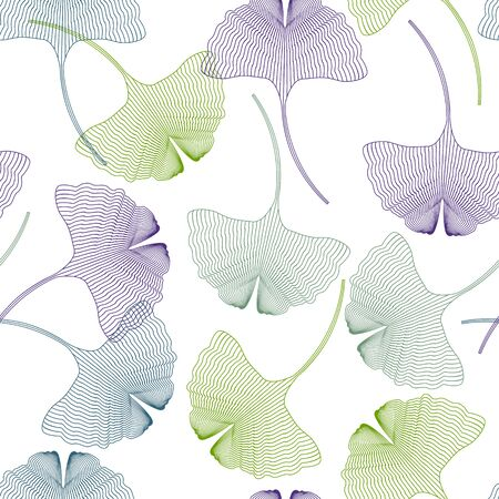 Ginkgo biloba, silhouette of colorful leaves on a white background. For textile decoration, packaging, web design. Illustration