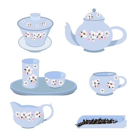 Fine China - Set of drawn porcelain tea cups and saucers, teapots, creamers on a isolated white background.