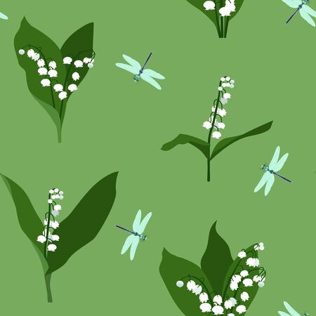 Tender lilies of the valley and dragonflies on a green background. Vector seamless illustration. For decorating textiles, packaging, wallpaper.