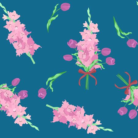 Seamless vector illustration with gladiolus and tulips on a white background. For decoration of textiles, packaging, web design.