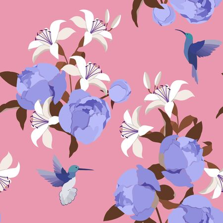 Peonies, Lilies and hummingbirds. Seamless vector illustration on pink background. For decorating textiles, packaging, wallpaper. Illustration