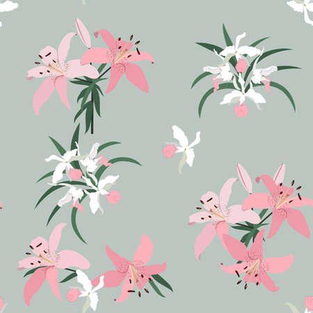 Beautiful tropical orchids and lily on a gray background. Seamless vector illustration. For decorating textiles, packaging, wallpaper. Ilustração