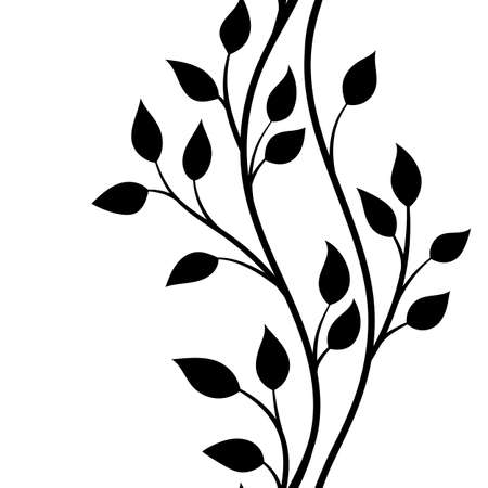 decorative pattern: vector illustration, seamless pattern, decorative black and white wavy tree branches with leaves