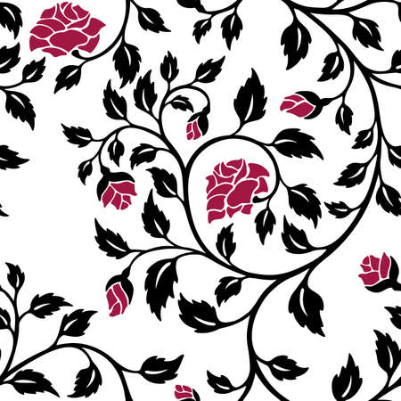 white roses: vector illustration, seamless pattern, decorative rose branches with red flowers Illustration