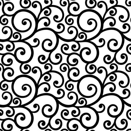 curls: seamless pattern, decorative black and white curls