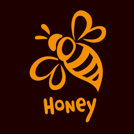 Vector bee icon. Pretty bee with honeycomb. Vector logo image. Illustration