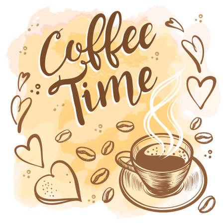 Hand gezeichnete Kaffeezeitillustrationen. Standard-Bild - 91352705