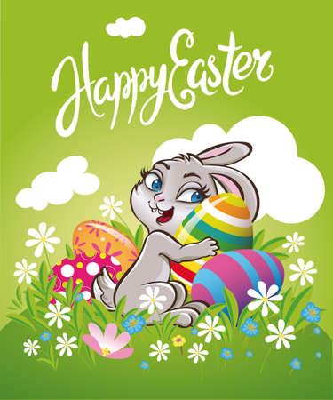 Easter bunny rabbit on the meadow with Easter eggs chocolate. Çizim