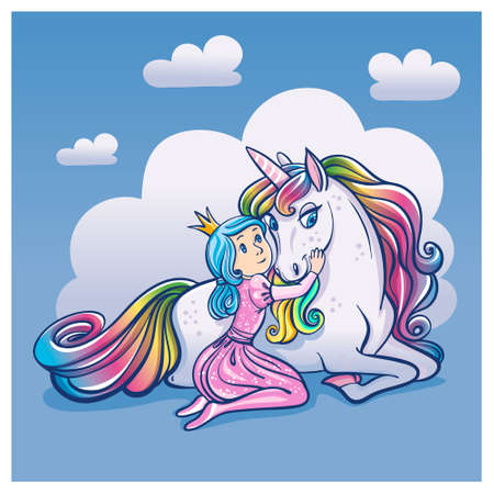 Little Princess Girl and Cute Unicorn illustration.