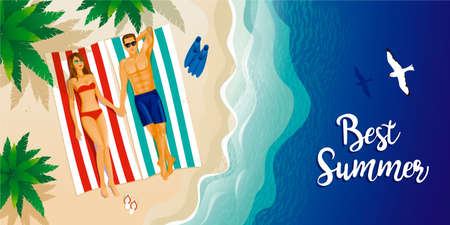 A young couple on the sunny beach. (Overhead view) Summer time - sea, sand, umbrella, towels, swimming pools. (View from above) vector illustration.