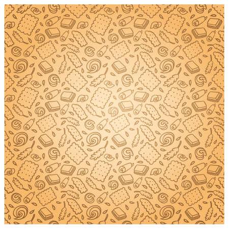 Muster des Kekses, der Schokolade, der Kornähren. Standard-Bild - 91668637