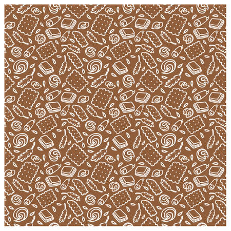 Muster des Kekses, der Schokolade, der Kornähren. Standard-Bild - 91668843