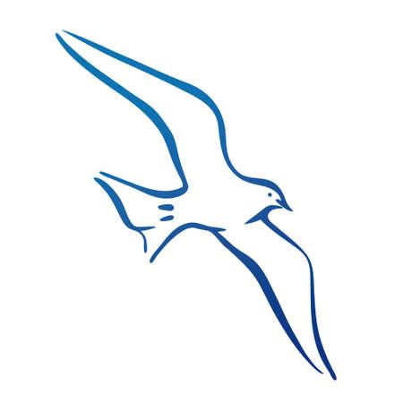 Seagull flying. Design silhouette. logo vector illustration.