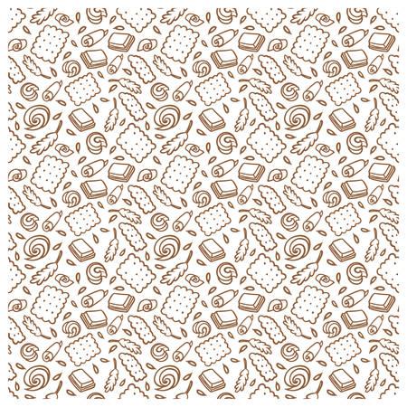 Muster des Kekses, der Schokolade, der Kornähren. Standard-Bild - 91669234
