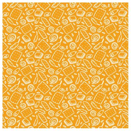 Muster des Kekses, der Schokolade, der Kornähren. Standard-Bild - 91669414