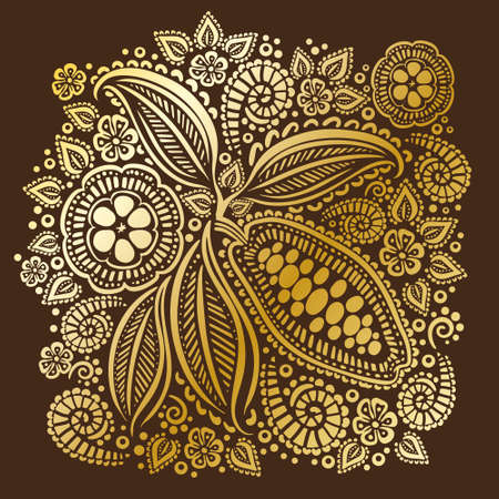 Cocoa beans illustration. Chocolate cocoa beans.