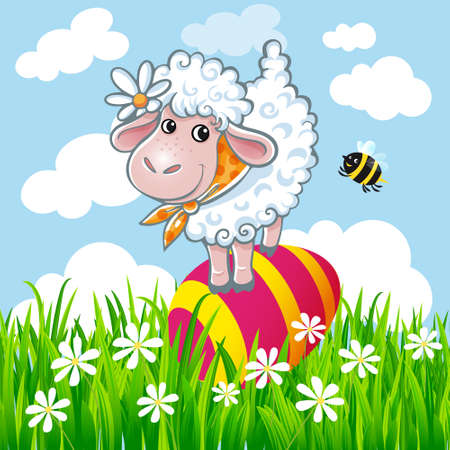 Easter sheep and bee with colored egg. Easter card set.