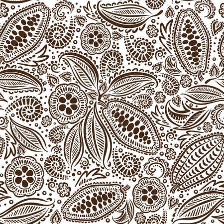 Modèle sans couture de haricots de cacao.