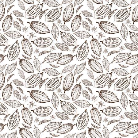 カカオ豆シームレスパターン。 写真素材 - 94644842