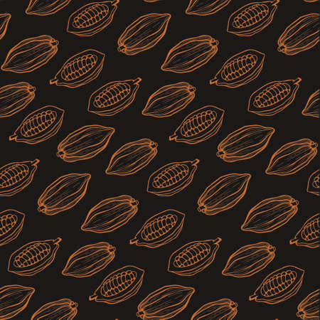 Cacao beans seamless pattern.