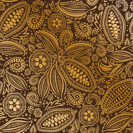 カカオ豆シームレスパターン。  イラスト・ベクター素材