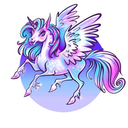 Beautiful unicorn vector illustration.Magic fantasy horse design for kids T-shirt and bags. Unicorn with rainbow hairs