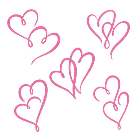 Two heart lines set. Valentine's Day, double heart.vector Illustration