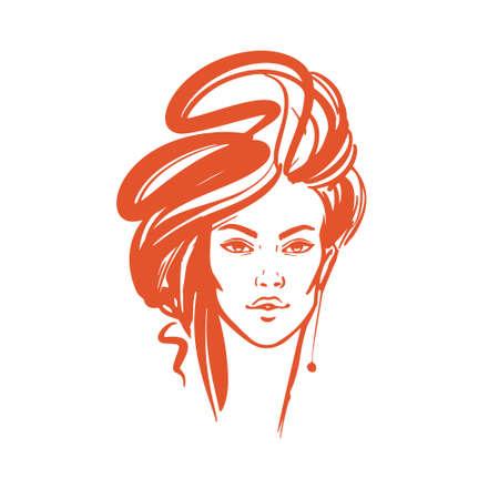 Illustration of women long hair style icon, logo women on white background, vector.