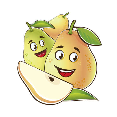 Pear cute characters. Vector set in cartoon style. Isolated fruits.