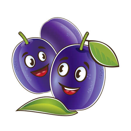 Plum cute characters. Vector set in cartoon style. Isolated fruits. Vettoriali