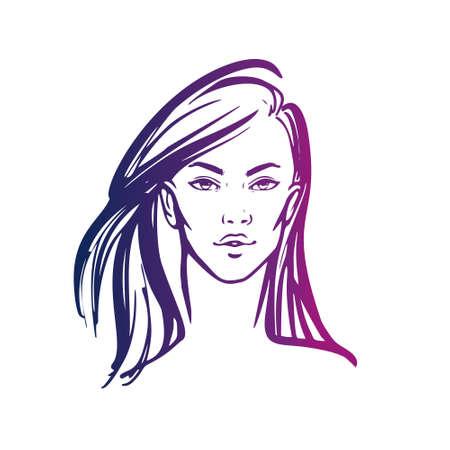illustration of women long hair style icon, logo women on white background, vector. Stock Illustratie