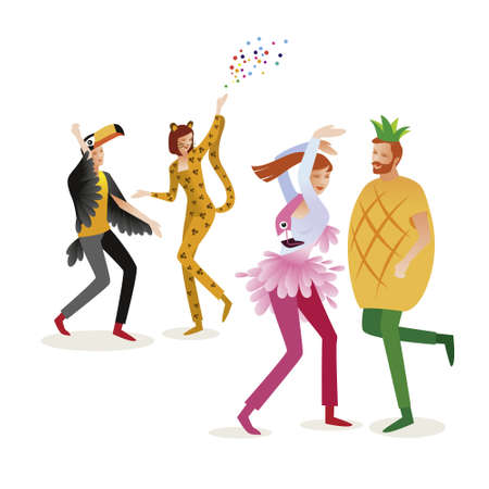 Group of people in carnival costumes. Jungle masquerade. Panter, flamingo, pineapple, toucan. Vector design for posters, banners, cards and invitations.