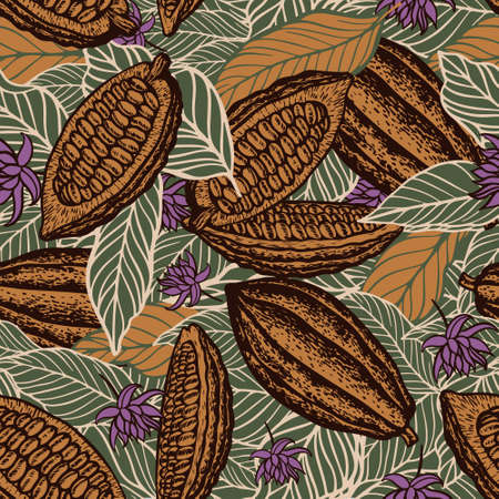 cacao beans seamless pattern Vetores